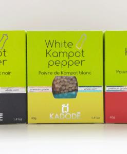 Boites de poivre de Kampot noir blanc rouge en pack nouveau packaging