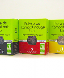 Le poivre de Kampot bio noir, rouge et blanc certifié