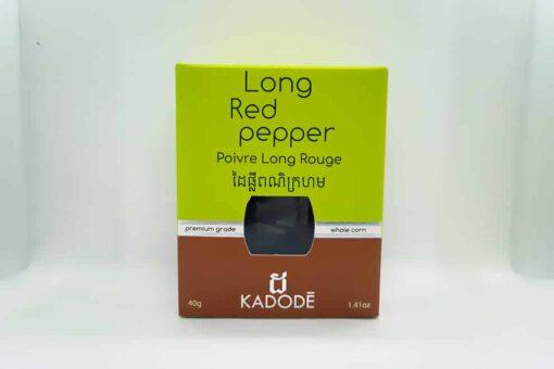 Boite de 40g vue de face poivre rouge long de kampot