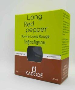 Boite de 40g vue de trois quart poivre rouge long de kampot