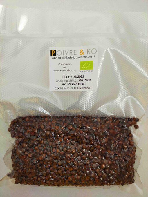 Sachet 250g poivre de Kampot rouge Bio Poivre & Ko