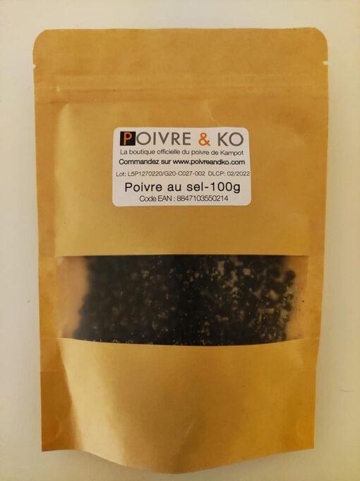 Poivre & Ko Sachet Kraft 100g Poivre de Kampot au sel